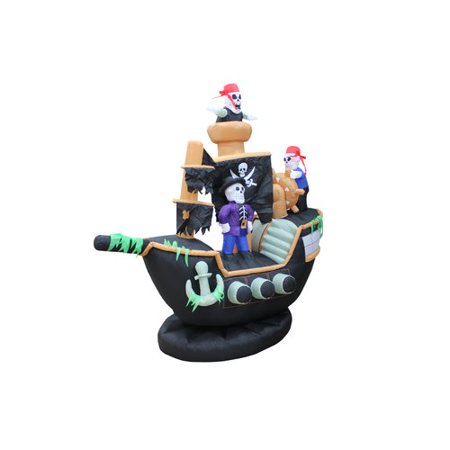 The Holiday Aisle Halloween Inflatable Skeletons & Ghosts on Pirate Ship - Pirate Decorations
