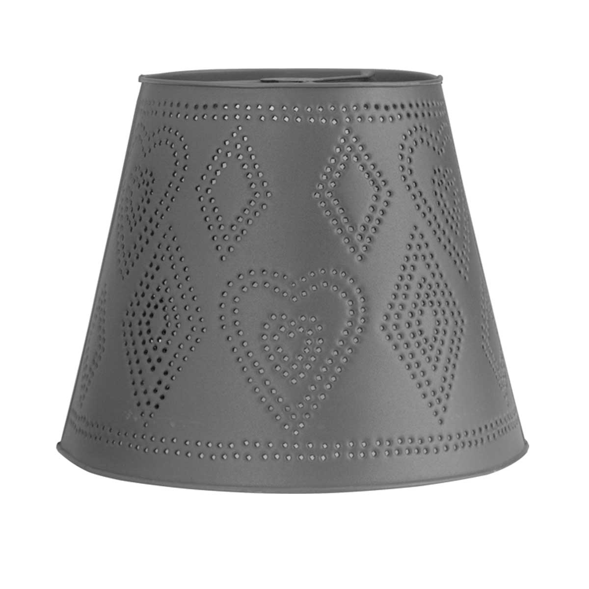 """Lamp Shade Black Tin  13.5"""" D x 11"""" H Heart Punched  