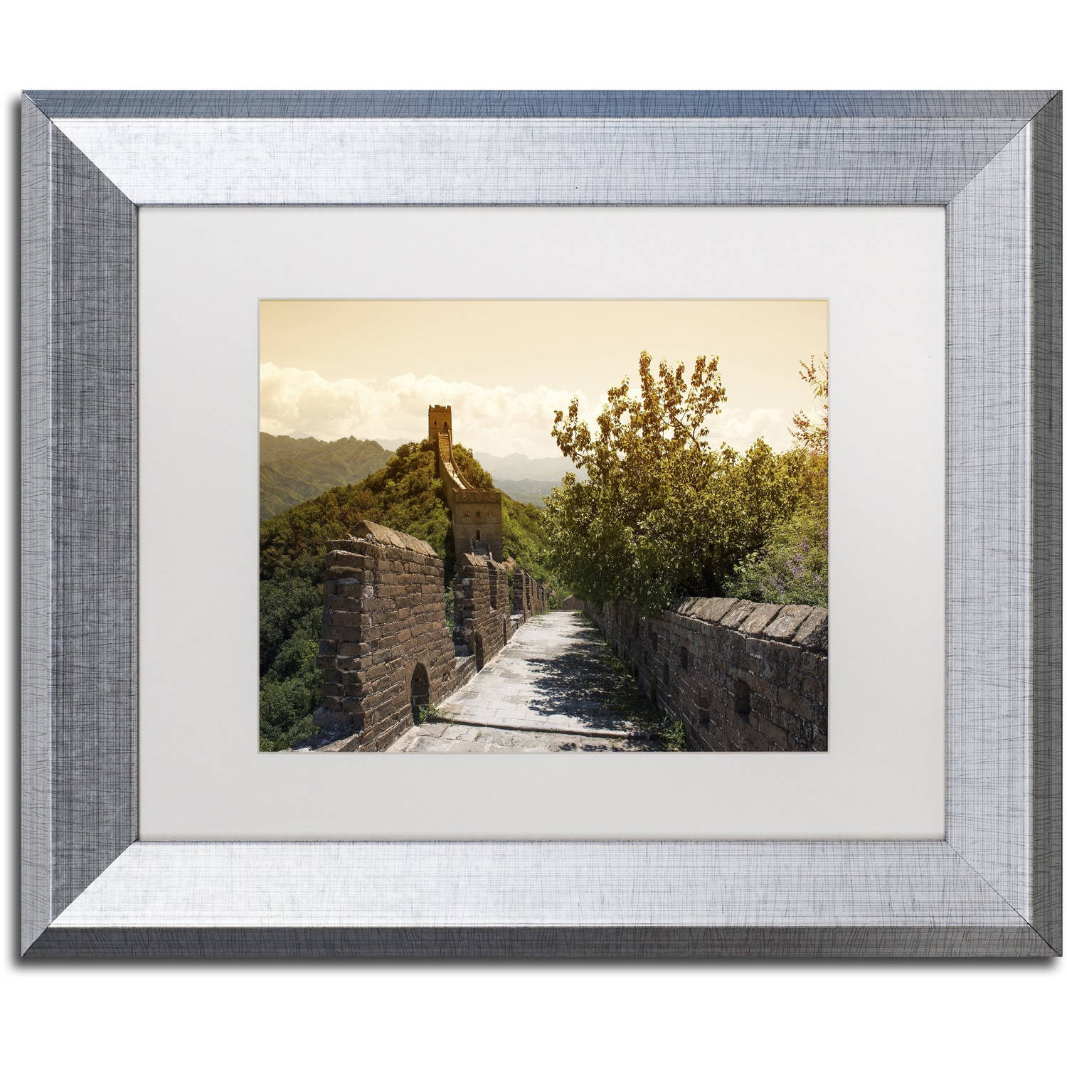 "Trademark Fine Art ""Great Wall III"" Canvas Art by Philippe Hugonnard, White Matte, Silver Frame"
