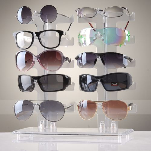 2 Row 10 Pairs Sunglasses Glasses Rack Holder Frame Display Stand Transparent by Sunrain