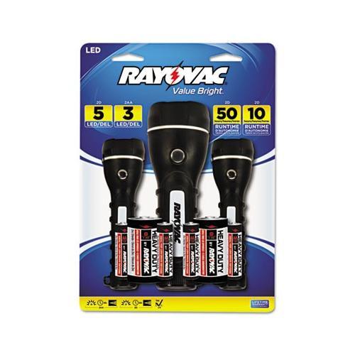 Ray-o-vac Value Bright LED Flashlights RAYBRSLED3PKBT
