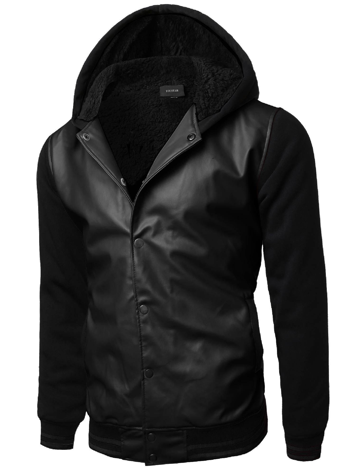 FashionOutfit Men's Varsity wool and Faux leather Contrast Stadium Jacket by