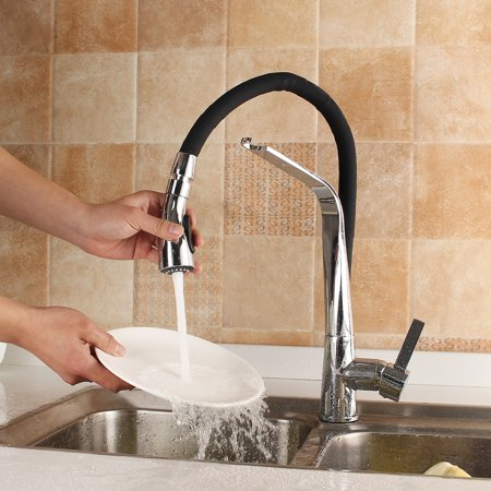 Modern Faucet Black Rubber Pull Out Spray Water Kitchen Basin Sink Mixer Tap - image 8 de 9