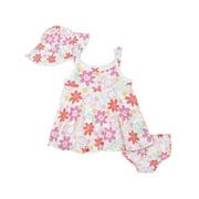Gerber Baby & Toddler Girls Dress, Sun Hat & Diaper Cover/Panty Set 3-Piece (Newborn-5T)