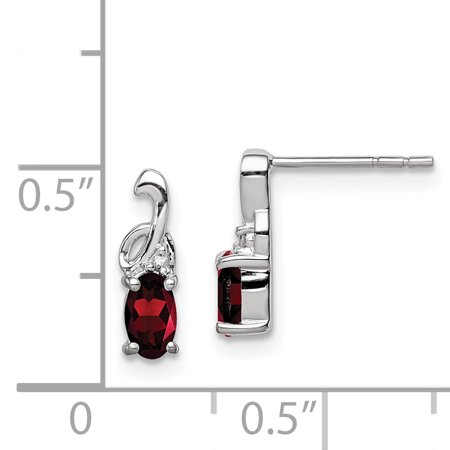Sterling Silver Rhodium Plated Diamond Garnet Oval Post Earrings QE9969GA - image 1 de 2