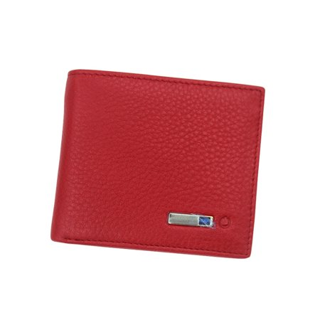 Litchi Grain Smart Wallet Unisex Genuine Leather High Quality Anti Lost  Intelligent Bluetooth Bifold Purse Card Holders (Red)