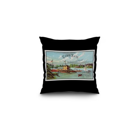 Echo Bay Brand Cigar Box Label (16x16 Spun Polyester Pillow, Black Border) ()