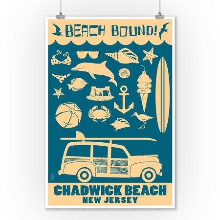 Chadwick Beach, New Jersey - Coastal Icons - Lantern Press Artwork (9x12 Art Print, Wall Decor Travel Poster) Baseball Jersey Wall Art