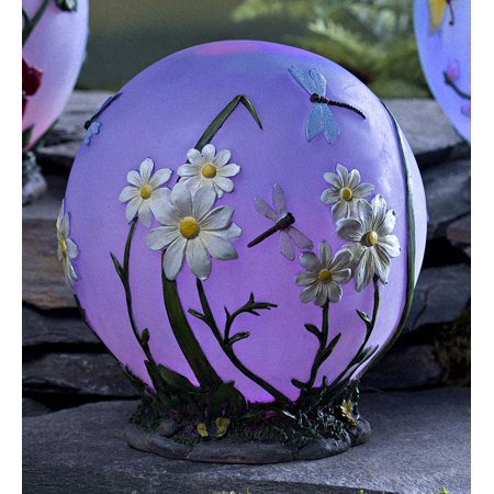 Glowing Daisy Garden Globe with LED Lights