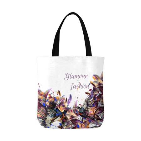 ASHLEIGH Watercolor Lily Flowers and Hummingbird Canvas Reusable Tote Bag Durable Shopping or Book Bags for Women Men Kids