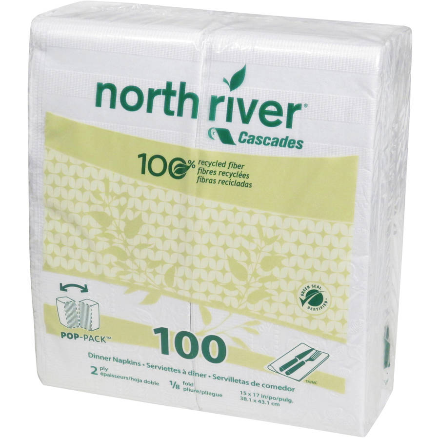 Cascades North River 2-Ply Dinner Napkins, White, 100 count, (Pack of 30)