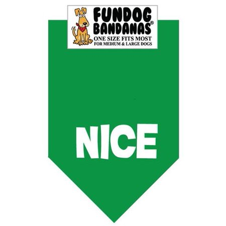 Fun Dog Bandana - Nice (Christmas) - One Size Fits Most for Med to Lg Dogs, kelly green pet scarf