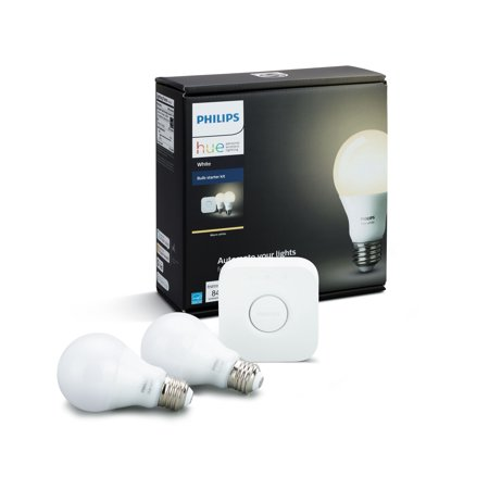 (Philips Hue White Smart A19 Starter Kit, 60W Equivalent, Hub Included, 2 Bulbs)