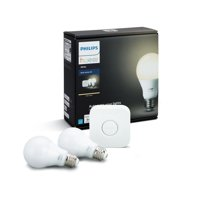 Philips Hue White A19 Smart Light Starter Kit, 60W LED, 2-Pack
