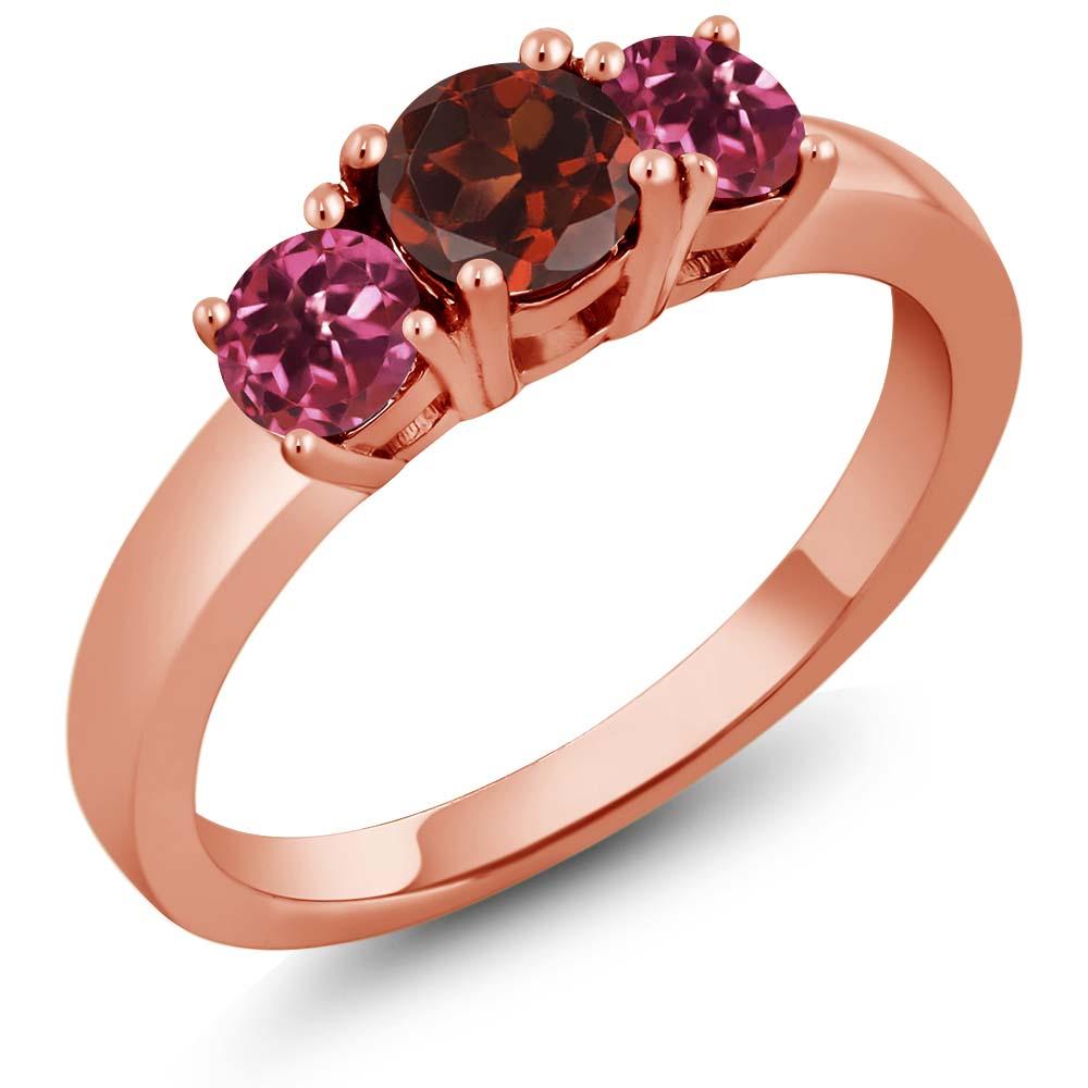 1.03 Ct Round Red Garnet Pink Tourmaline 14K Rose Gold Ring by