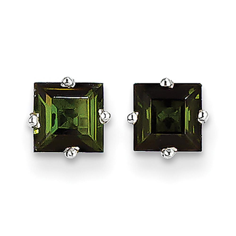14k White Gold Polished Prong Set 5mm Square Green Tourmaline Stud Earrings by