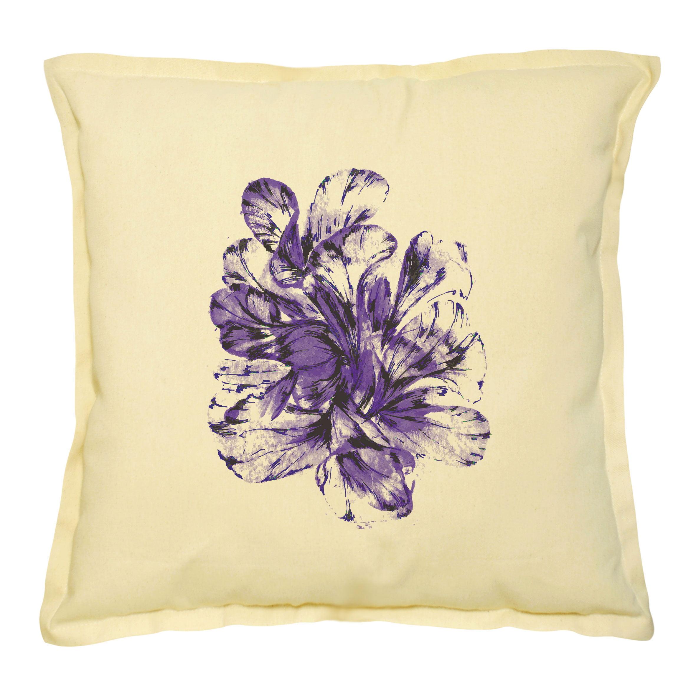 Purple Abstract Flower Printed Khaki Decorative Pillows Case VPLC_02 Size 18x18