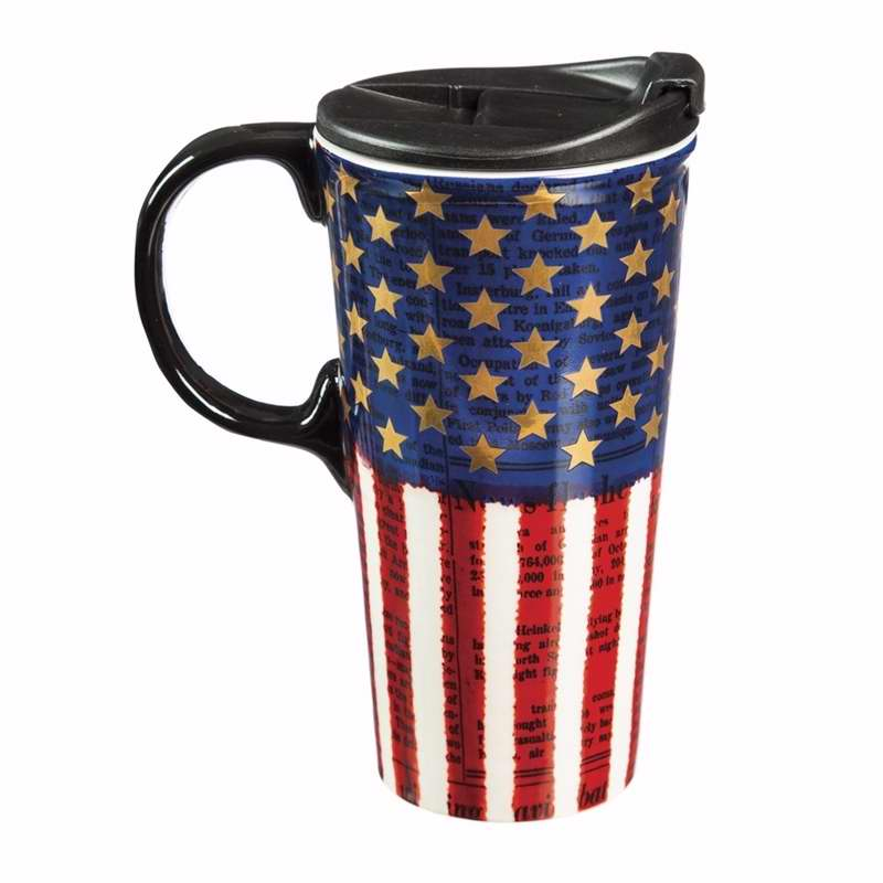 Mug-Travel-Liberty-Latte Cup w/Handle & Gift Box (17 oz) (Ceramic)
