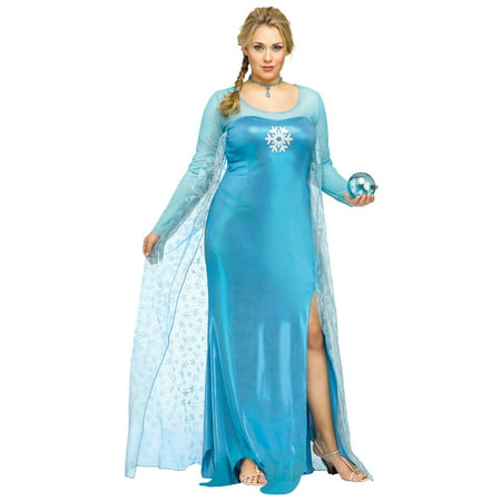 Blue Snowflake Ice Snow Queen Princess Movie Adult Womens Plus Size Costume -