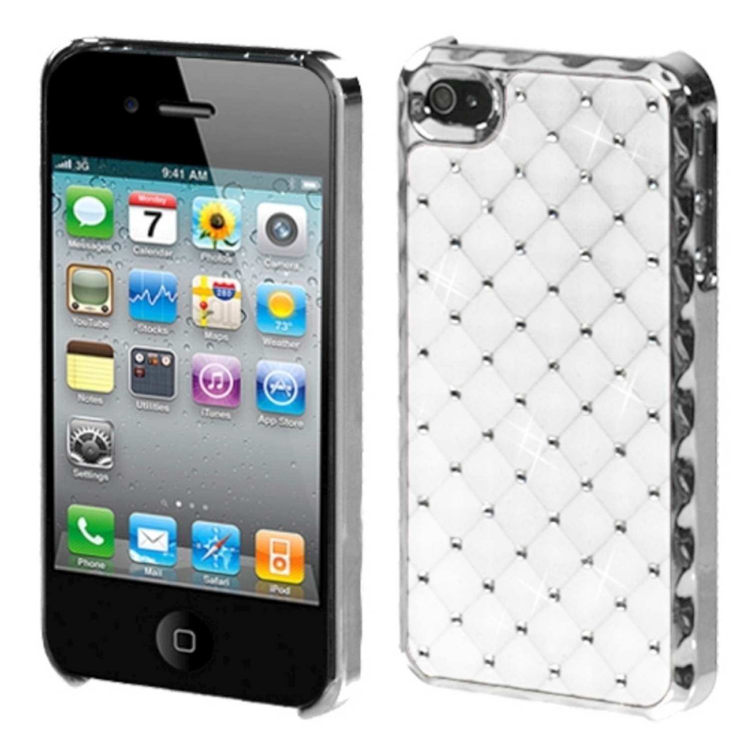 Insten Ivory White Silver Dazzling Back Casew/Diamonds For iPhone 4 4S