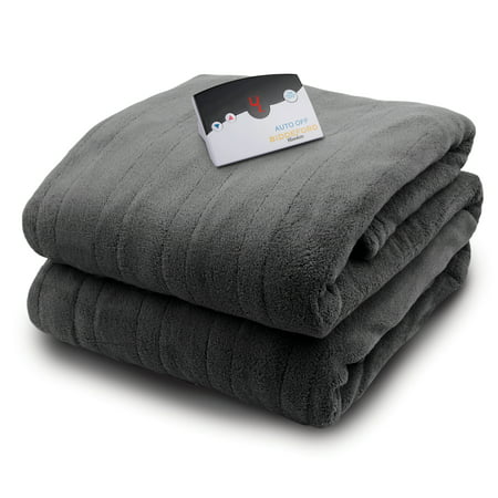 Biddeford Micro Plush Electric Heated Blanket With Digital Controller, Full, Grey