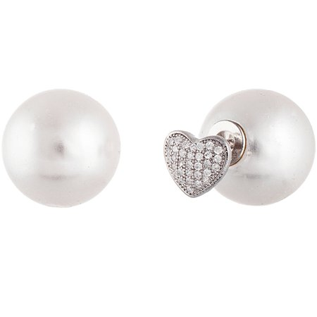 Lesa Michele Genuine Cubic Zirconia and Freshwater Pearl Pave Heart Ball Post Earrings in Sterling Silver Exclusive Genuine Pearl