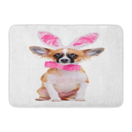 GODPOK Pink Dress Brown Rabbit Chihuahua Dog Wearing Bunny Ears Colorful Animal Red Blank Rug Doormat Bath Mat 23.6x15.7 inch - Red Bunny Ears