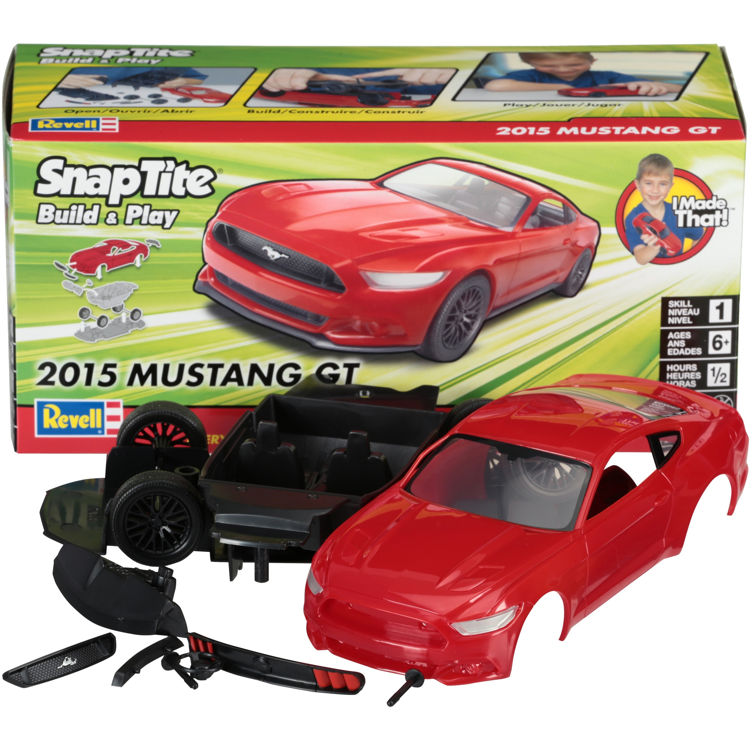 Revell SnapTite Build & Play 2015 Mustang GT Kit 12 pc Box by Revell Inc.