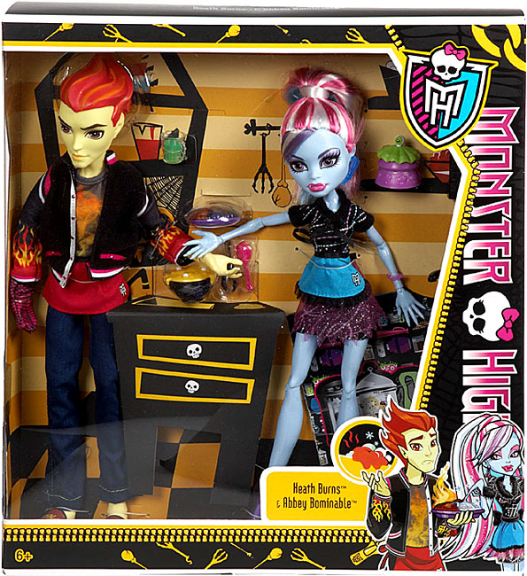Monster High Home Ick Dolls, Set of 2, Abbey Bominable and Heath Burns