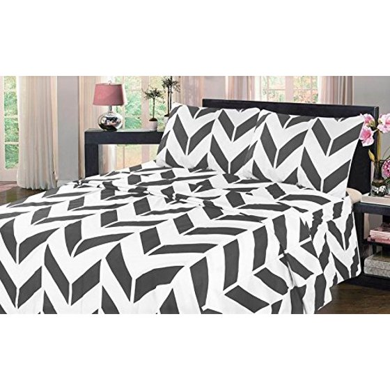 twin gray chevron bed sheet set flat fitted pillowcase sheet set two tone modern printed design. Black Bedroom Furniture Sets. Home Design Ideas