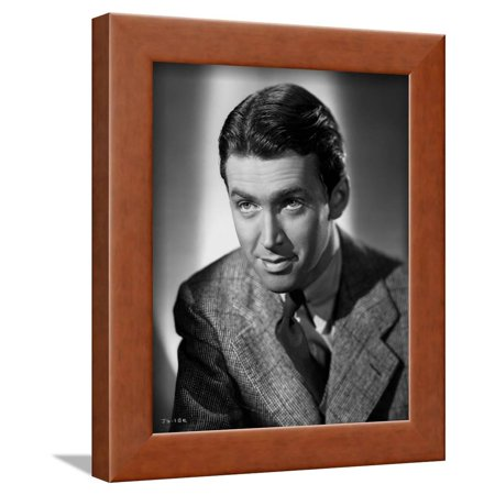 James Stewart Posed in Grey Corduroy Suit and Black Silk Necktie with Eyes Looking Up Framed Print Wall Art By E Bachrach
