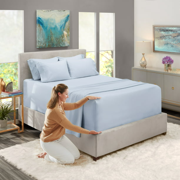 Cal King Size Extra Deep Pocket 6 Piece Bed Sheets Set Ice Blue