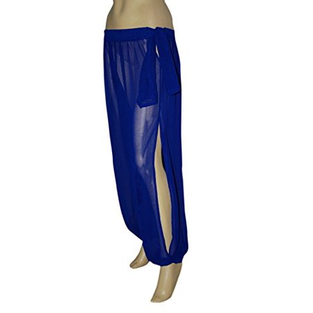 Hip Shakers Genie Costume Royal Sheer Chiffon Harem/Yoga Pants with Side Slit Halloween