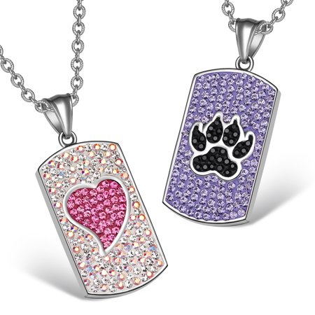Heart and Wolf Paw Austrian Crystal Love Couples Best Friends Dog Tag Purple Black Pink White (Best Gay Tv Couples)