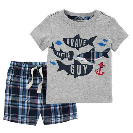 Carters Infant Boys 2-Piece Brave Little Guy Shark T-Shirt & Plaid Shorts Set - Guy Outfits