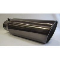 """4"""" Inlet x 6"""" Outlet x 18"""" Long Rolled Edge BLACK CHROME Diesel Exhaust Tail Pipe Tip (Bolt On)"""