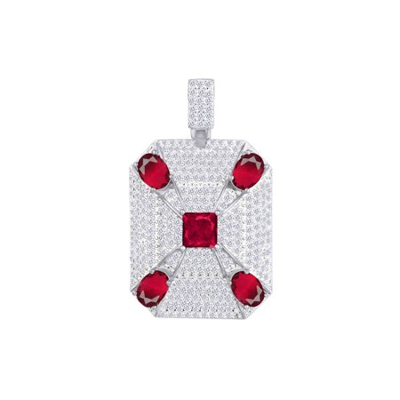 3 Carat (Ctw) White Natural Diamond & Simulated Garnet Iced Out Hip Hop Charm Pendant In 14k Solid White Gold Solid 14k White Gold Pendant