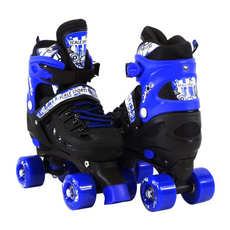 Adjustable Blue Quad Roller Skates For Kids Medium Sizes