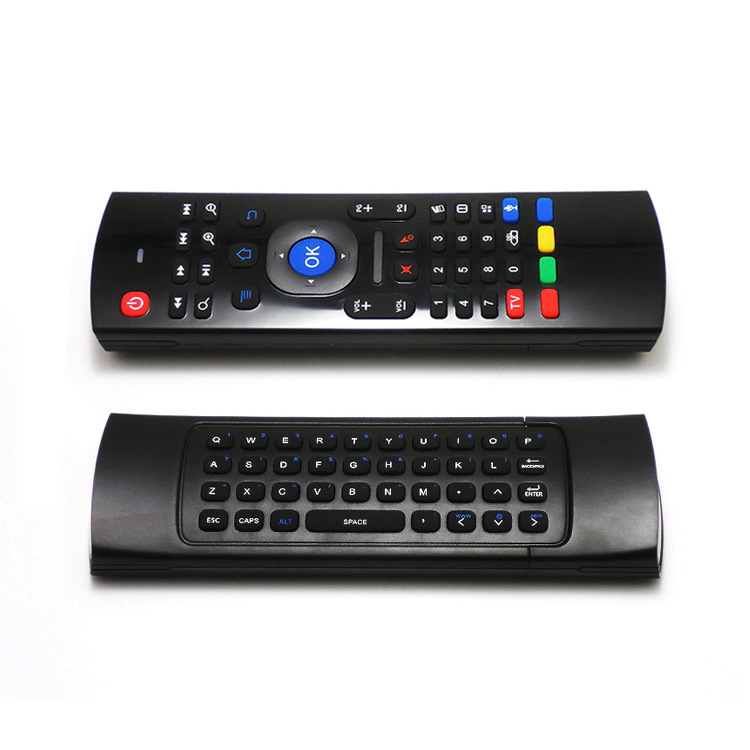 Calvas Wireless 2.4G Infrared Learning Backlit Air Mouse Remote Control Keyboard For Xbox PC TV Android Box Smart TV HTPC Windows Color: Black