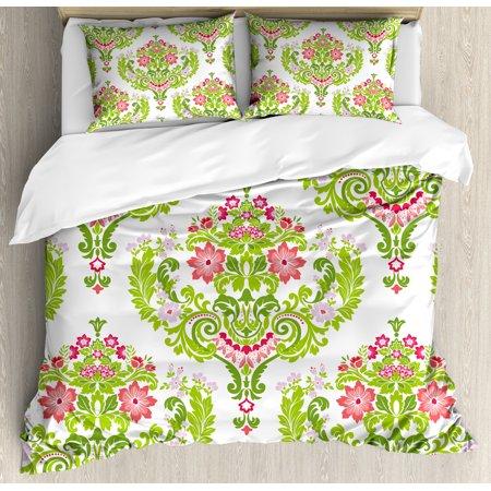 Damask King Size Duvet Cover Set Fl Arrangement Green Foliage Eastern Culture Design Print