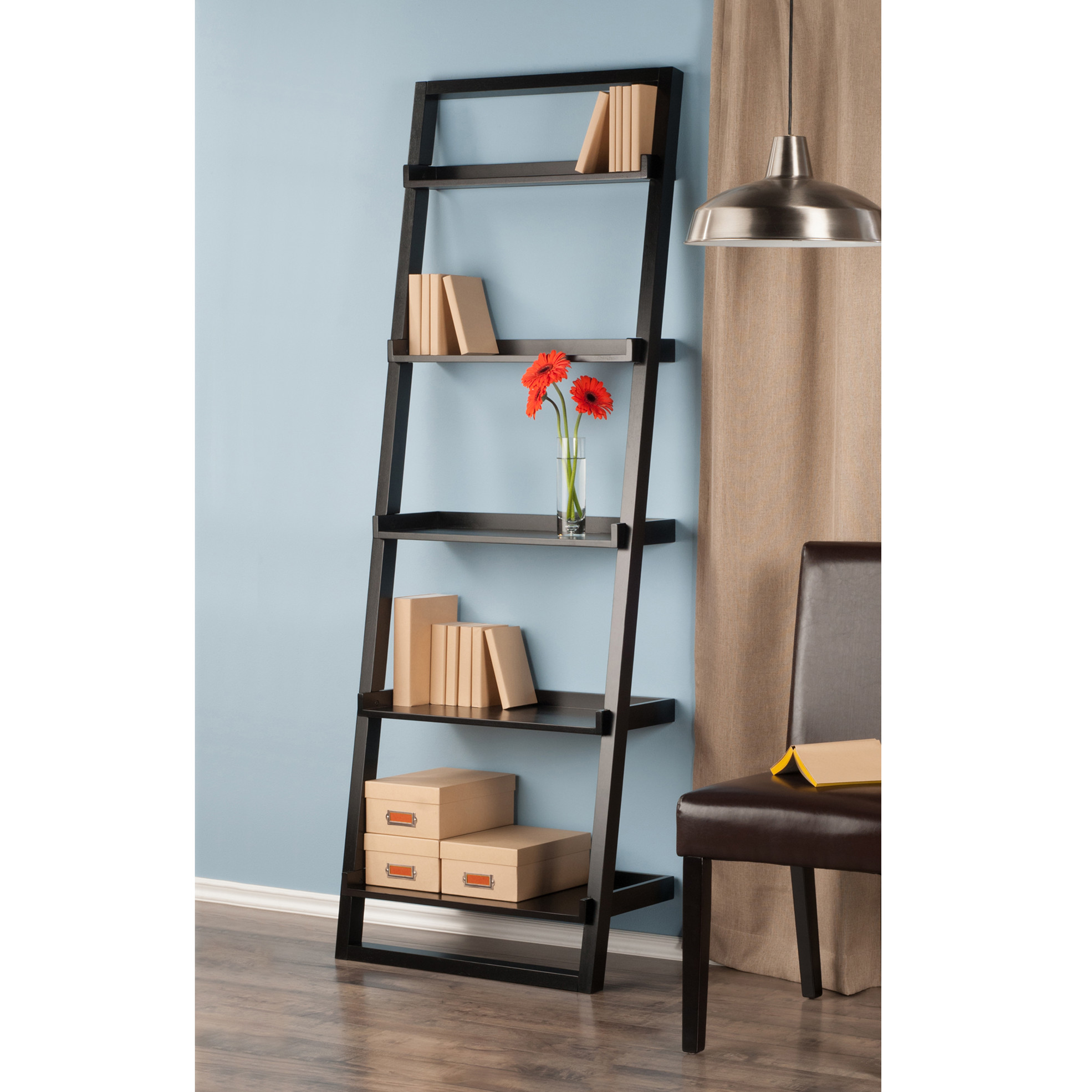 Charmant Winsome Wood 29525 Black 5 Tier Bailey Leaning Shelving Unit   Walmart.com