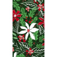 Metallic Paper Guest Towel, 15 count, Green Holly Pattern