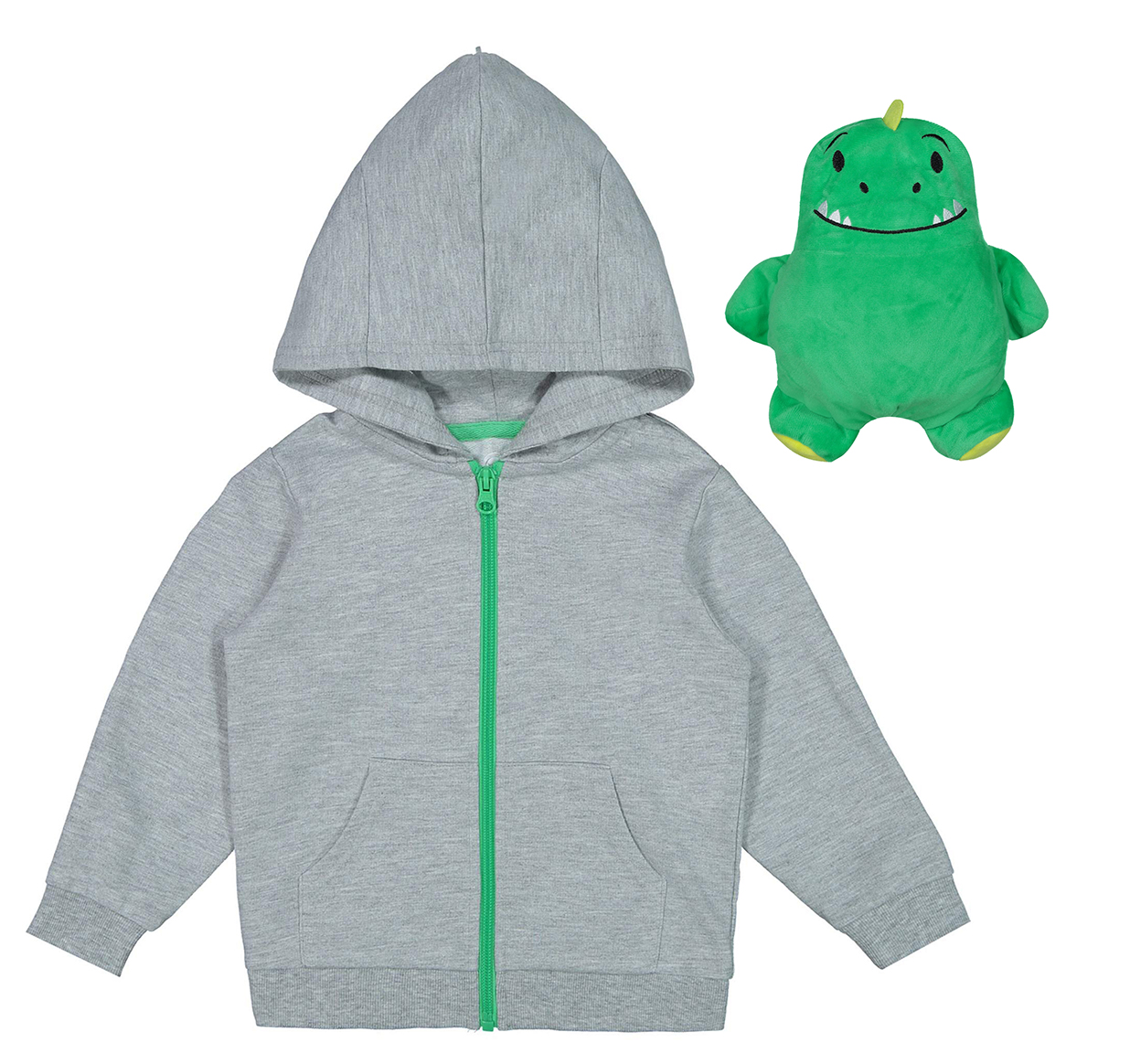 Packable Plush Critter Zip Up Hoodie (Toddler Boys)