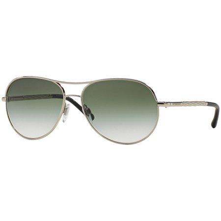 Burberry Sunglasses Sunglasses BE3082 1005/8E Silver Frame Green Lens 57MM