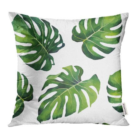 ARHOME Green Leaf Hand Watercolor Monstera Leaves Pattern on White Botanical Palm Tree Pillowcase Cushion Cover 16x16 inch