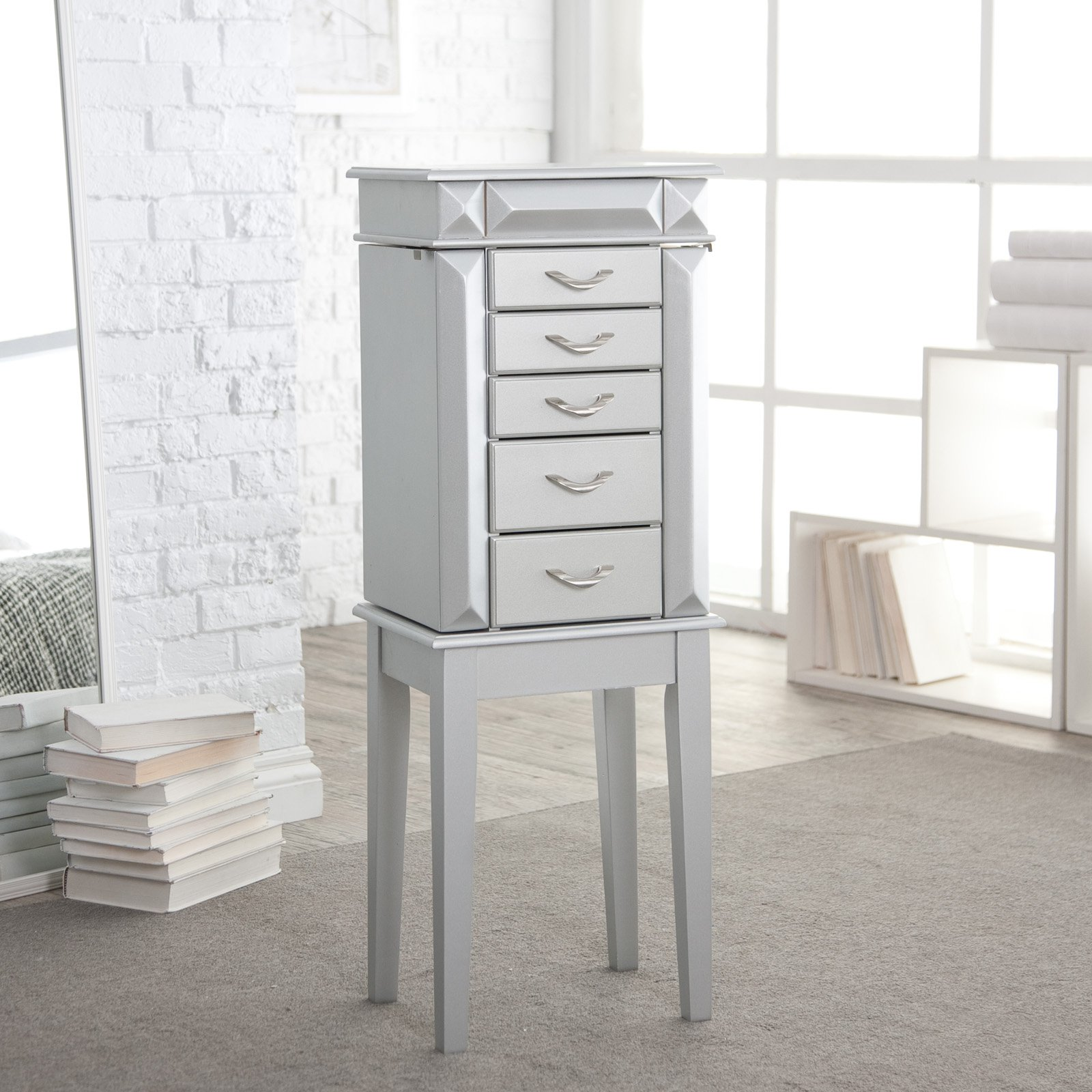 York Silver Jewelry Armoire
