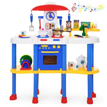 Best Choice Products Kids Pretend Kitchen Cooking Cookware Play Food Toy Set for Learning, Creativity w/ 67 Accessories, Lights,