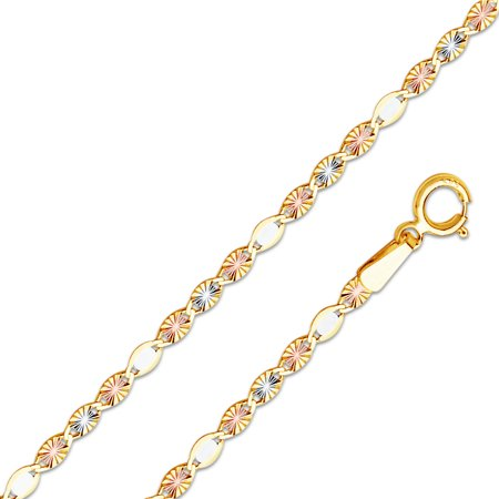 14k Tri 3 Color Gold Solid 2mm Flat Valentino Star Diamond-Cut Chain Necklace -