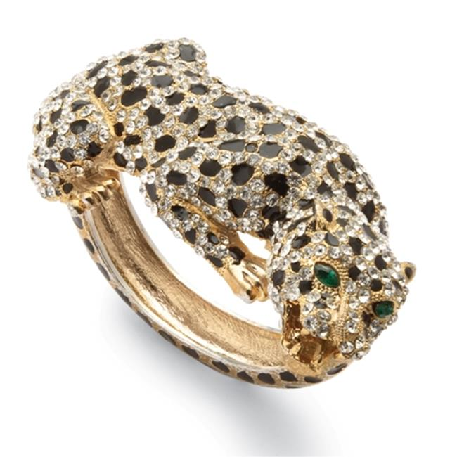 PalmBeach Jewelry 50654 Round White Crystal Marquise-Shape Green Crystal 14k Yellow Gold-Plated Enamel Accent Leopard