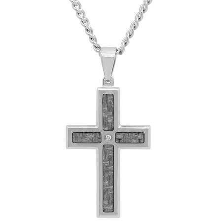 (Men's Stainless Steel Gray Carbon Fiber Diamond Accent Cross with 24